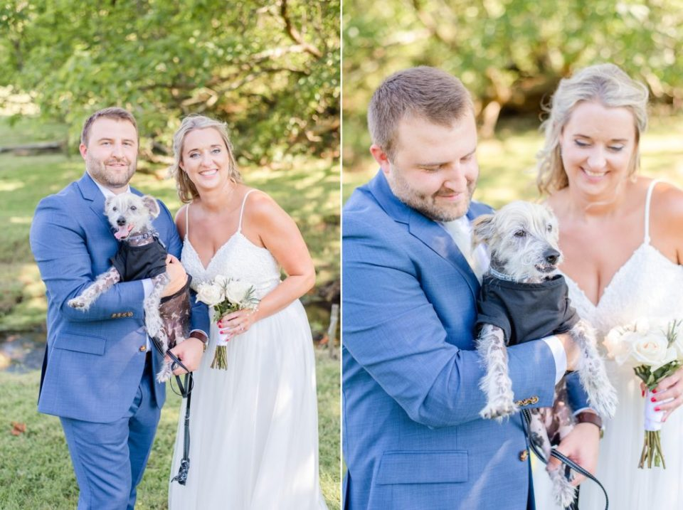 bride and groom hold dog during wedding portraits