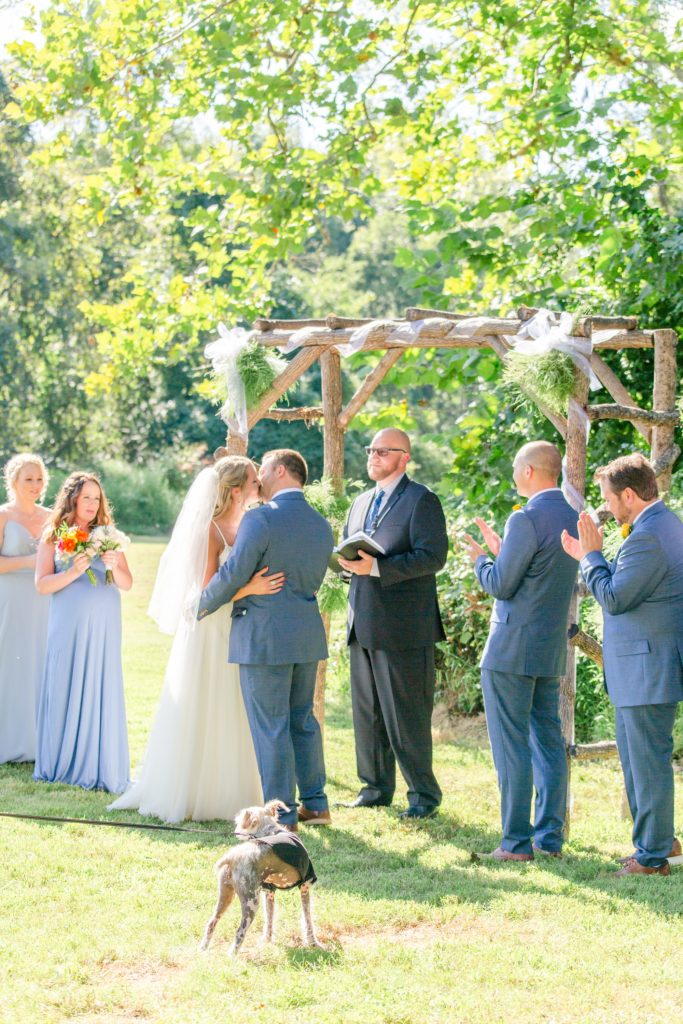 first kiss as husband and wife at Graeme Park