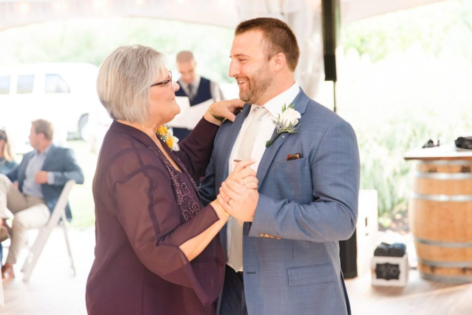 groom and mother dance during Graeme Park wedding reception