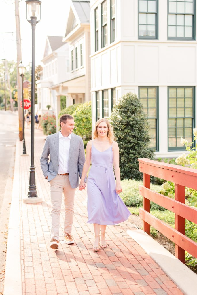 couple walks through New Hope PA with Renee Nicolo Photography