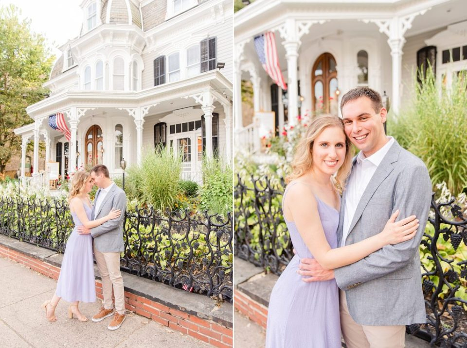 couple poses by vintage house in New Hope PA