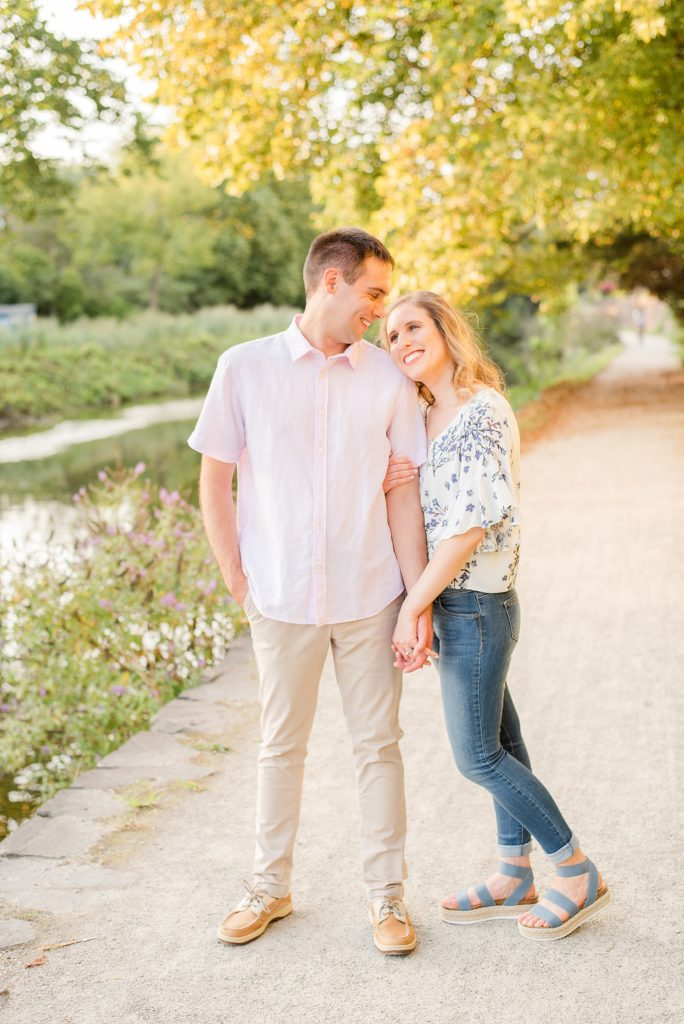 PA engagement session at sunset along river in New Hope