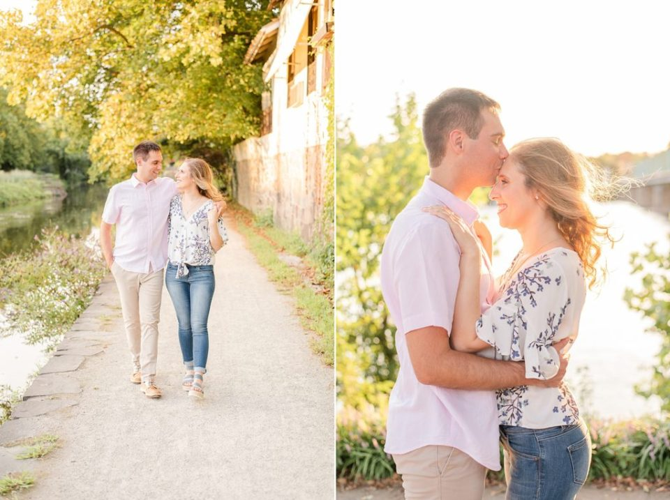 Renee Nicolo photography captures sunset New Hope PA Engagement photos