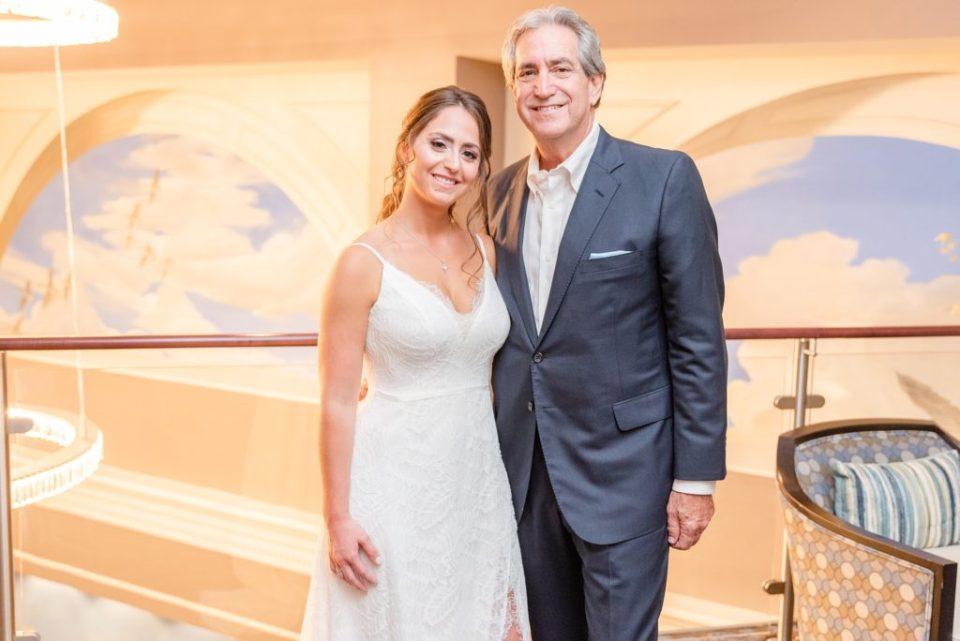 bride and dad pose at the Hotel Desmond Malvern