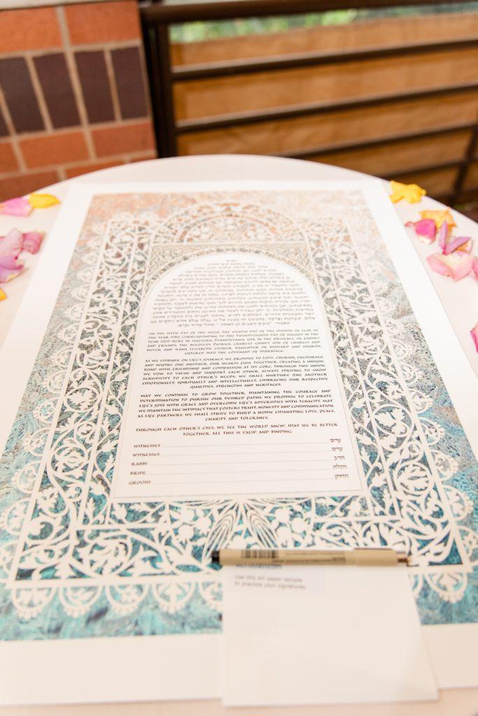 Ketubah for signing before Jewish wedding ceremony