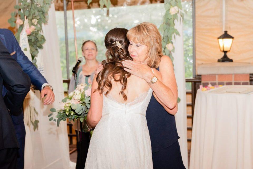 mother gives away bride at Hotel Desmond Malvern