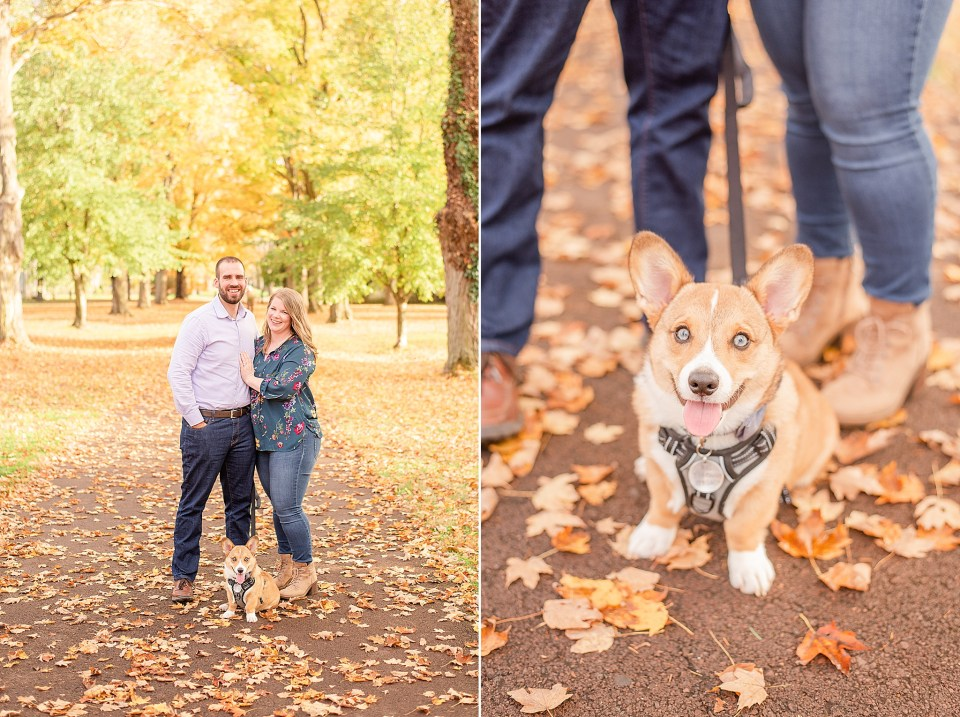 bride and groom pose with corgi during Washington Crossing Historic Park engagement session