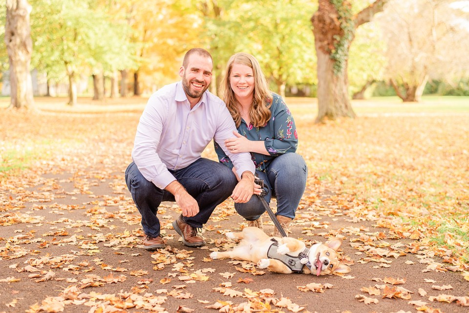 fall engagement session with puppy
