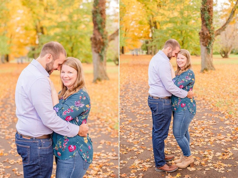 bride and groom laugh during fall portraits