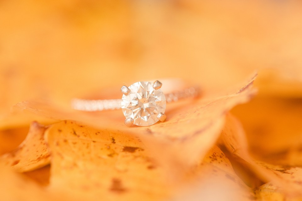 engagement ring on orange fall leaf