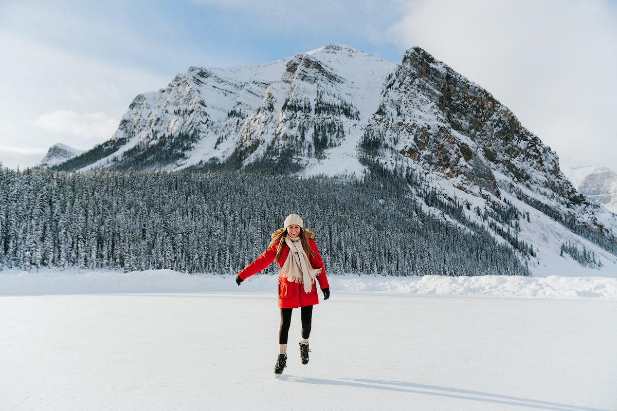 Planning a Trip to Banff in Winter - Ice Skating Lake Louise - Renee Roaming