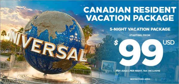 A Universal Vacation! Canadian Residents Package for Orlando Florida