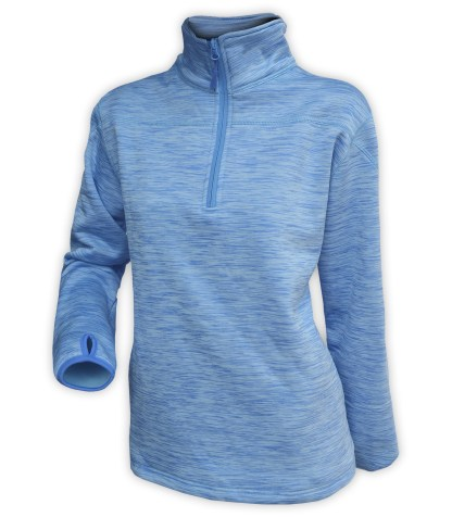 blue athletic pullover, half zip, women, wholesale, embroidery