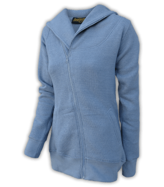 renegade club womens jacket for embroidery, diagonal full zipper, nantucket fleece, oversized hood, blue