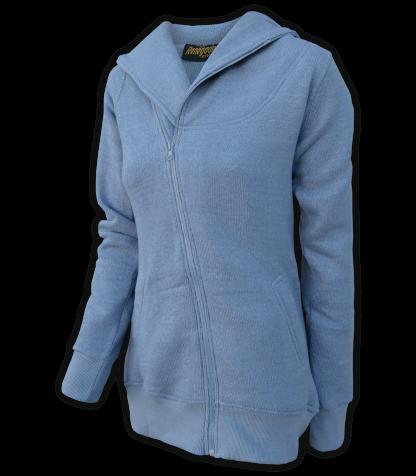 renegade club womens jacket for embroidery, diagonal full zipper, nantucket fleece, oversized hood, blue