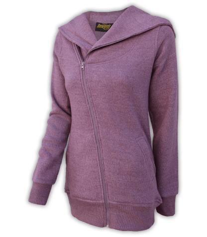 renegade club womens fleece jacket, diagonal full zipper, nantucket fleece, oversized hood, raspberry, pink, violet,