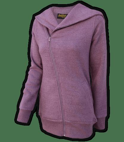 renegade club womens fleece jacket, diagonal full zipper, nantucket fleece, oversized hood, raspberry, pink, violet,