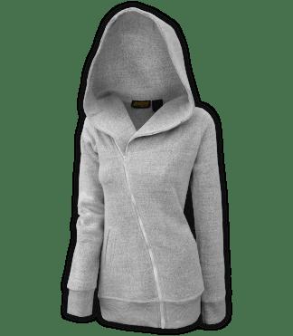 renegade club womens fleece jacket, diagonal full zipper, nantucket fleece, oversized hood, salt and pepper, white, gray