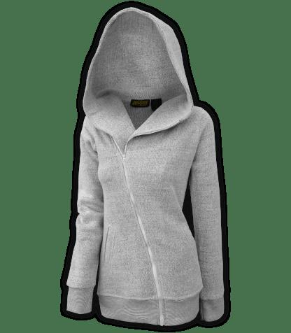 renegade club womens diagonal jacket, diagonal full zipper, nantucket fleece, hood, salt and pepper, white, gray for embroidery