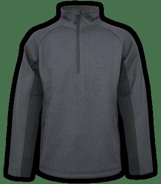 Renegade-club-mens-half-zip-fleece-pullover-coarse-weave-black-ski-jacket