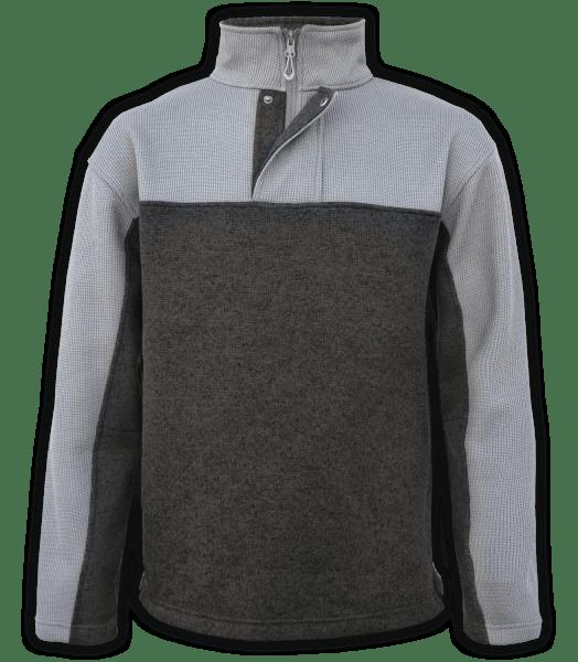 Renegade-club-mens-half-zip-placket-fleece-pullover-coarse-weave-north-shore-charcoal-dark-gray-soft-mens fleece jacket-2-color