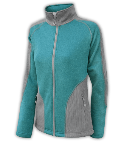 Renegade-club-womens-full-zip-fleece-jacket-coarse-weave-power stretch-gray-teal-fitted-ski-jacket