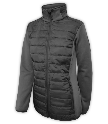 Renegade-womens-full-zip-fleece-jacket-woven-power stretch-black-fitted-ski-jacket-light-