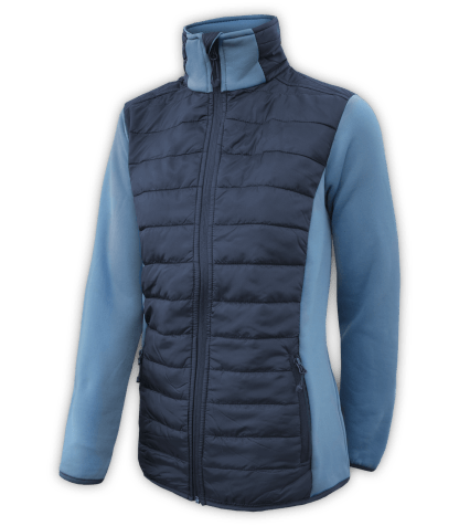 Renegade-womens-full-zip-fleece-jacket-woven-power stretch-blue-fitted-ski-jacket-light-