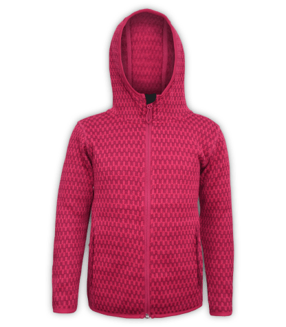 Renegade-youth-kids-full-zip-fleece-jacket-north shore-checkered-fuchsia-pink-outdoor-jacket-soft-hood