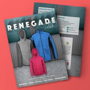 request 2018 renegade club catalog, wholesale embroidered fleece jackets, catalog cover, back cover, pink, blue jacket, gray jacket, fuchsia jacket