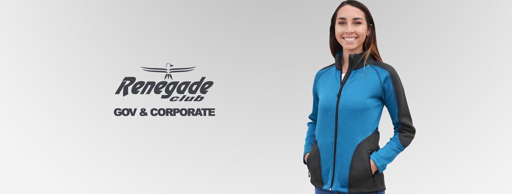 corporate apparel, government apparel, fleece full zip jacket, renegade blue black women
