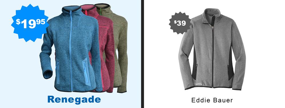 renegade vs eddie bauer, micro fleece women ladies jacket, embroidery