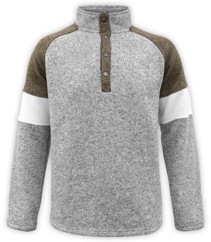 renegade men's north shore fleece snap pullover, tricolor, olive green, gray sweater, wholesale embroidery fleece, stand up collar,