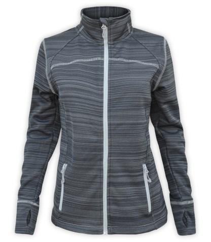 Renegade club womens full zip power stretch jacket, white light gray zipper, zipper pockets, stitching, charcoal, dark gray, renegade brand
