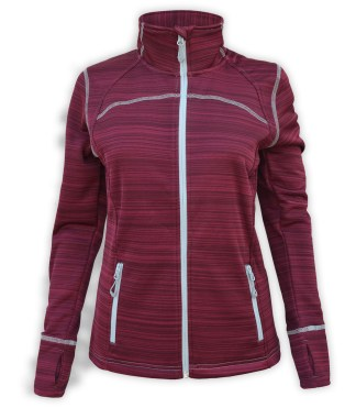 Renegade club womens full zip power stretch jacket, white light gray zipper, zipper pockets, stitching, red, maroon, renegade brand