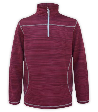 Renegade power stretch mens half zip, Quarter Zip fleece pullover, stripes, stitching, red, maroon, white zipper