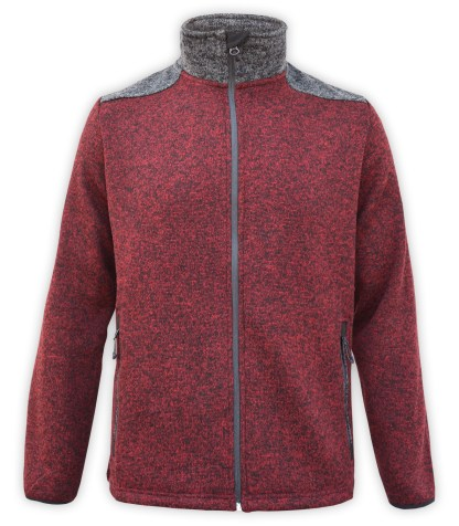 Renegade club north shore fleece jacket, color blocking, red maroon, gray, stand up collar, zipper, wholesale fleece jacket