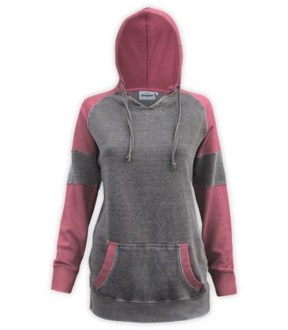 Renegade club brand burnout long pullover, women's color block v-notch, fleece pullover hoodie, cardinal, red, burgundy