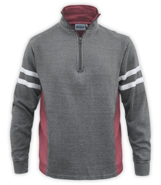 Renegade club brand men's burnout pullover, half zip, quarter zip, gray, red, cardinal, white stripes, fleece sweater