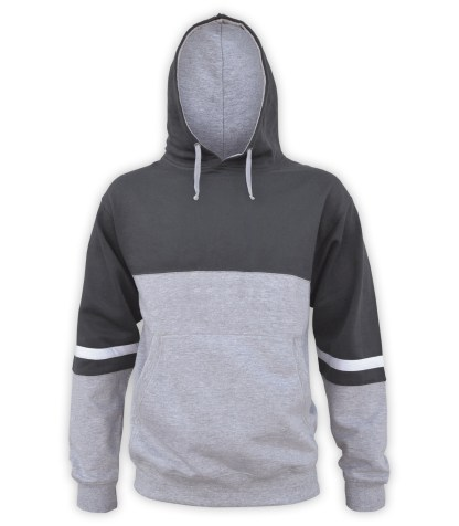 3 color hoodie fleece, special applique program wholesale. lt gray, black, white stripes, unique