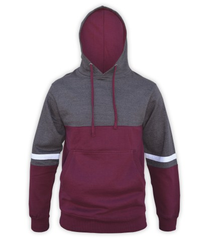 renegade tri color hoodie fleece, maroon, charcoal, gray, white stripes, unique fleece hoodie pullover