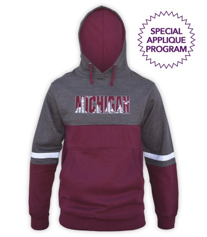 renegade tri color hoodie special applieque wholesale program fleece, maroon, charcoal, gray, white stripes, unique fleece hoodie pullover, applique design, michigan, lighthouse, sailboats