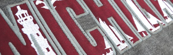 special applique renegade club program, embroidery red white, lighthouse, michigan, hoodies