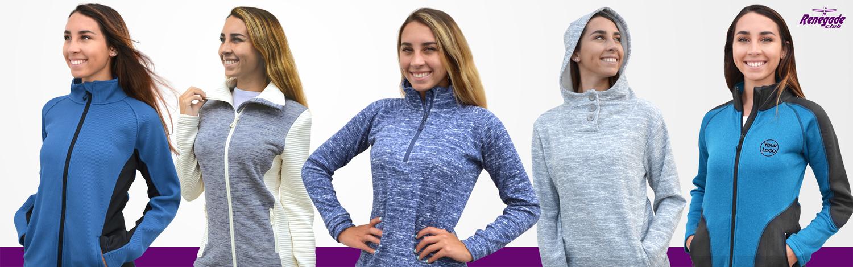 renegade womens category, soft fleece jackets wholesale, blue gray quarter zip half zip hoodie