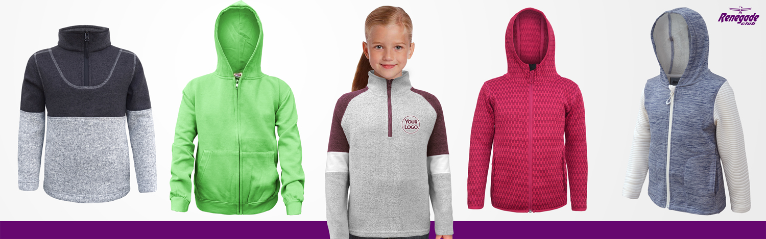 renegade club, fleece sweatshirts for kids, full zip, pullover, quarter zip, blue, red, green, hood, girls, boys