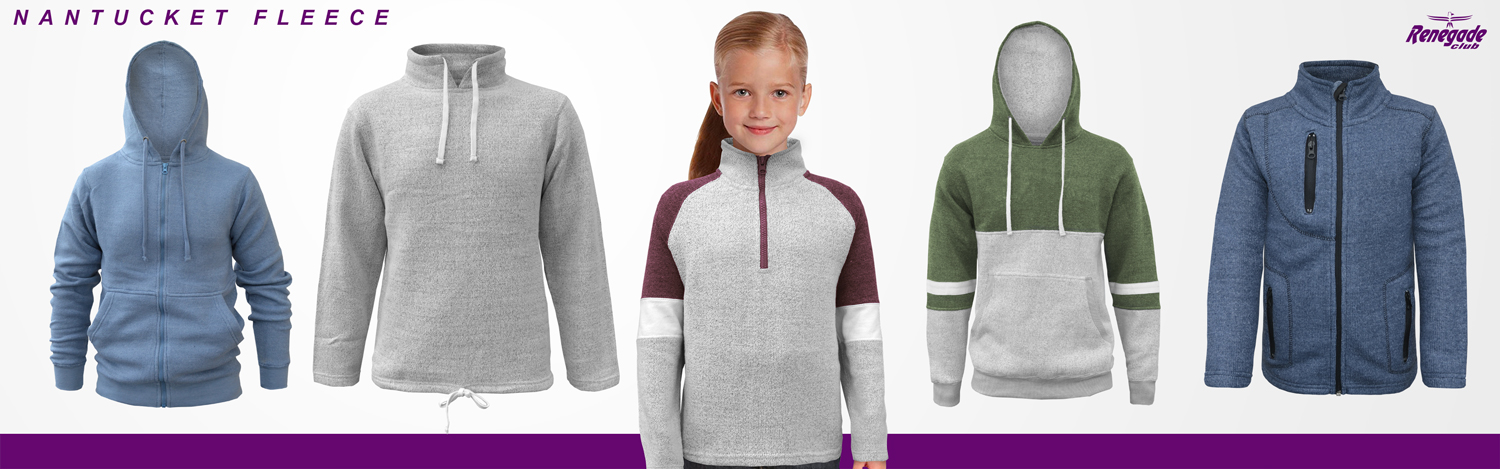 renegade club wholesale nantucket fleece sweaters, blue, gray, red. green, full zip, half zip, kids, embroidery girl