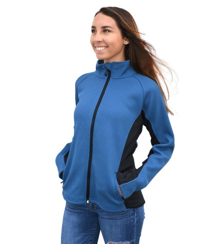 Renegade-club-womens full-zip jacket-coarse-weave-power stretch-black -ski-jacket blanks for embroidery wholesale