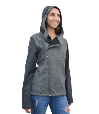 Renegade-club-womens diagonal-zip-woven-outdoor-soft-shell-jacket- blanks for embroidery wholesale