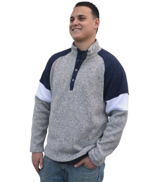 renegade men's north shore fleece snaps wholesale denim, gray sweater, blanks for embroidery