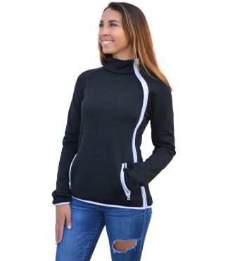 women zide zip jacket, modern , white zipper blank for embroidery